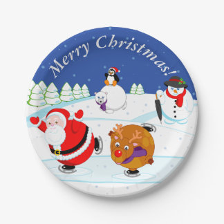Snow scene of Santa Claus and Rudolph ice skating, Paper Plate