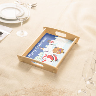 Snow scene of Santa Claus and Rudolph ice skating, Serving Tray