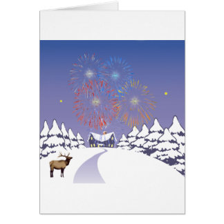 Snow Scene With Fireworks And Deer. Greeting Card