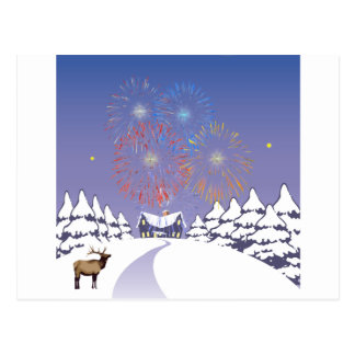 Snow Scene With Fireworks And Deer. Postcard