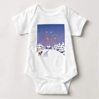 Snow Scene With Fireworks And Deer. T Shirts