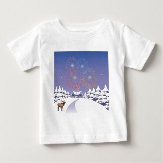 Snow Scene With Fireworks And Deer. T-shirts