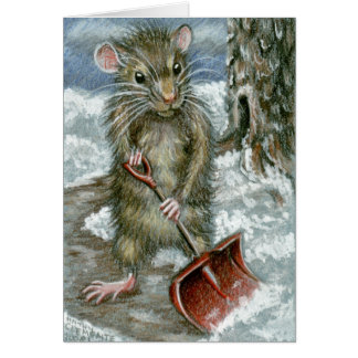 Snow Shovel Rat Note Card