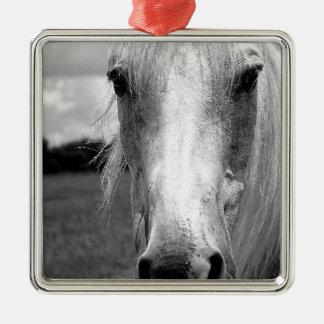 Snow Silver-Colored Square Ornament