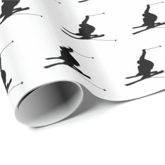 Snow Skier Silhouette Custom Color Wrapping Paper