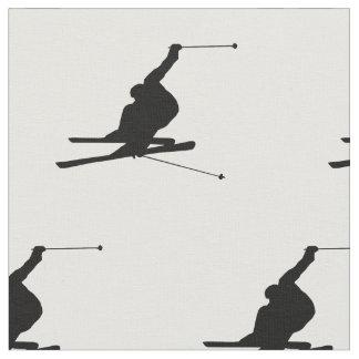 Snow Skier Silhouette Fabric