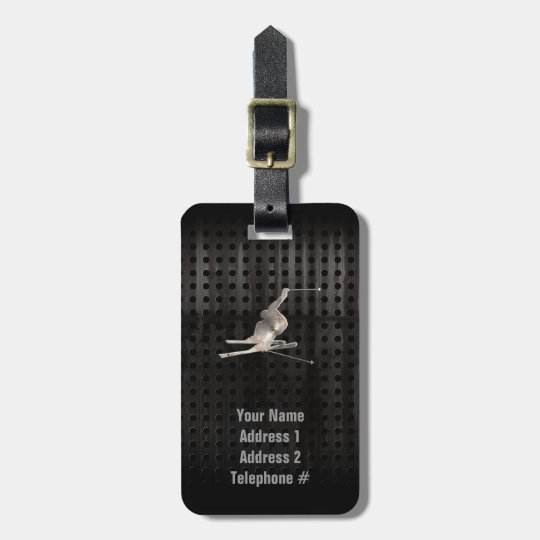 Snow Skiing; Cool Black Luggage Tag