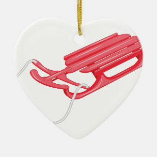 Snow Sled Ceramic Heart Ornament
