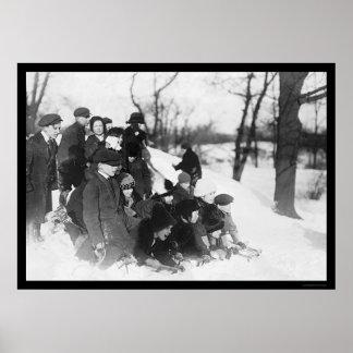 Snow Sledding in Central Park 1914 Poster