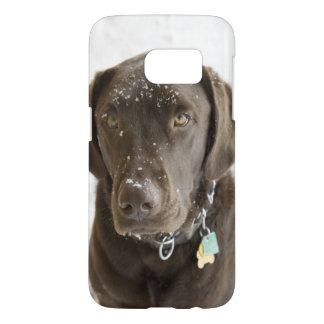 Snow Sprinkled Chocolate Lab Samsung Galaxy S7 Case