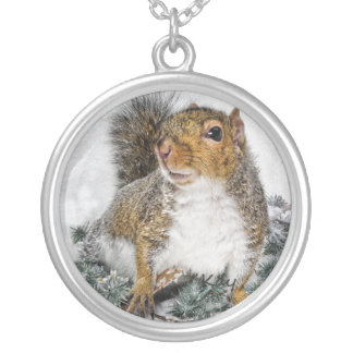 Snow Squirrel Silver Plated Necklace