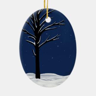 Snow & Stars Ceramic Oval Ornament