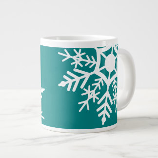 Snow Stars - White & Teal - Espresso Cup