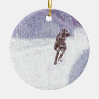 Snow Storm Art Round Ceramic Ornament