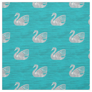 Snow Swans on the Sea Fabric