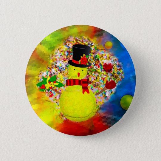 Snow tennis ball man in a cloud of confetti 2 inch round button