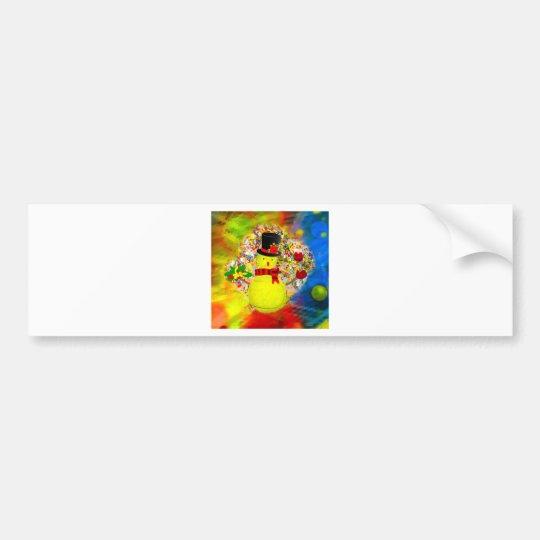 Snow tennis ball man in a cloud of confetti bumper sticker