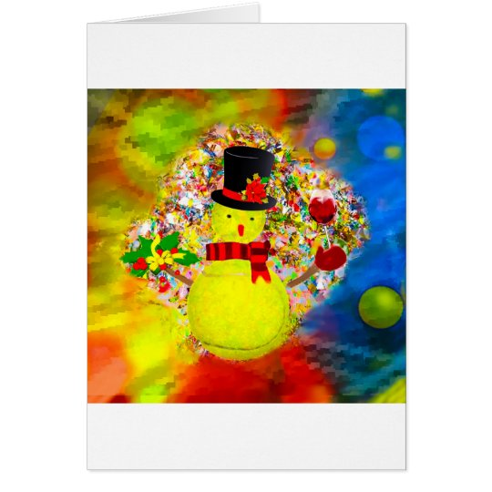 Snow tennis ball man in a cloud of confetti card