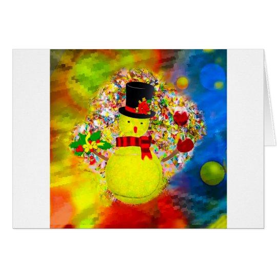 Snow tennis ball man in a cloud of confetti card