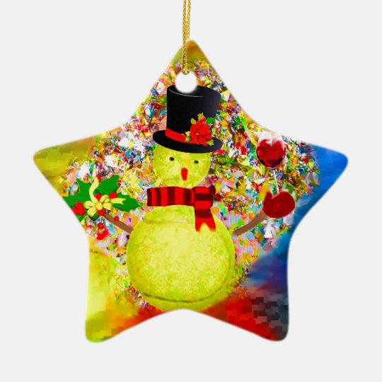Snow tennis ball man in a cloud of confetti ceramic ornament
