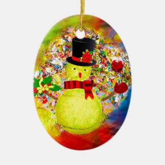 Snow tennis ball man in a cloud of confetti ceramic ornament