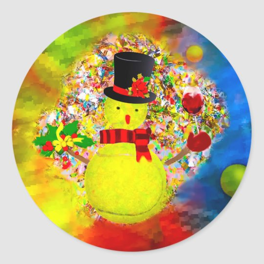 Snow tennis ball man in a cloud of confetti classic round sticker