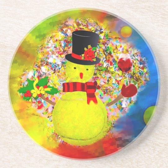 Snow tennis ball man in a cloud of confetti coaster