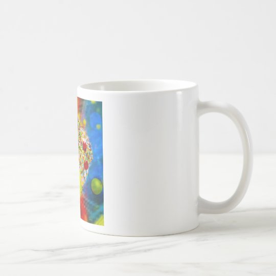 Snow tennis ball man in a cloud of confetti coffee mug