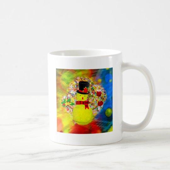 Snow tennis ball man in a cloud of confetti coffee mug