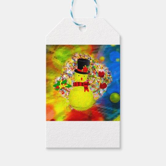 Snow tennis ball man in a cloud of confetti gift tags