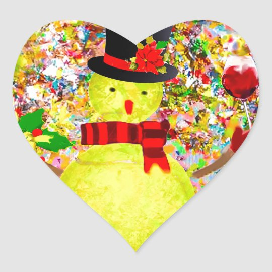 Snow tennis ball man in a cloud of confetti heart sticker