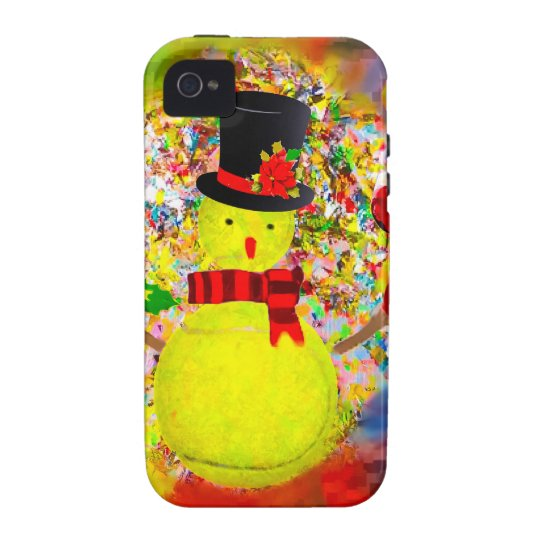 Snow tennis ball man in a cloud of confetti iPhone 4 cases
