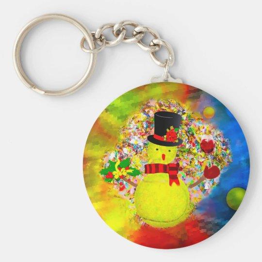 Snow tennis ball man in a cloud of confetti keychain
