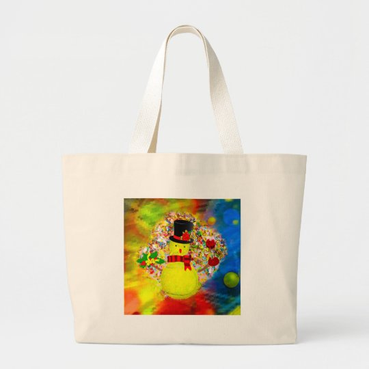 Snow tennis ball man in a cloud of confetti large tote bag