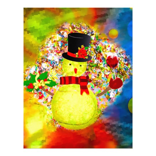 Snow tennis ball man in a cloud of confetti letterhead