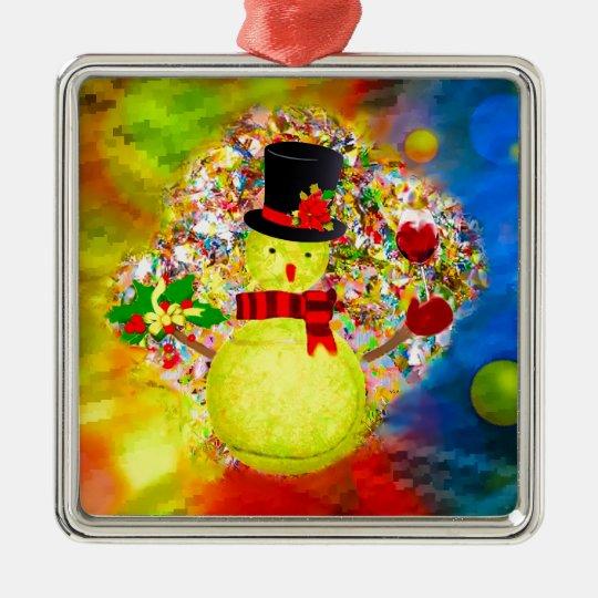 Snow tennis ball man in a cloud of confetti metal ornament
