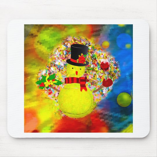 Snow tennis ball man in a cloud of confetti mouse pad