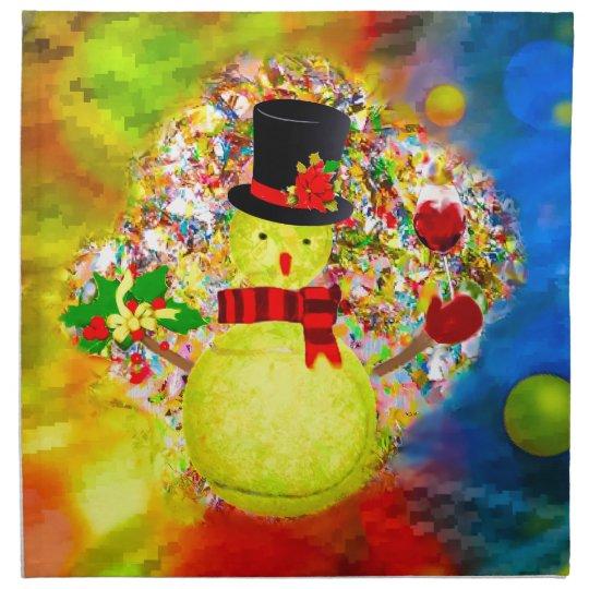 Snow tennis ball man in a cloud of confetti napkin