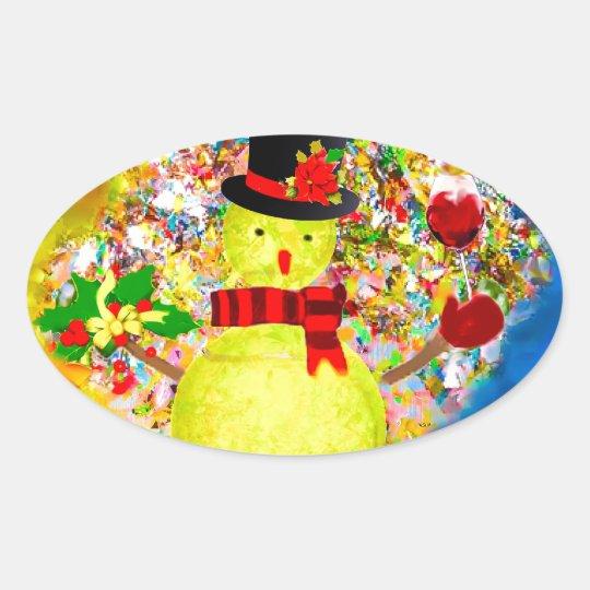 Snow tennis ball man in a cloud of confetti oval sticker