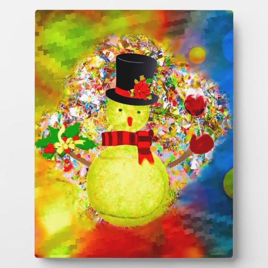 Snow tennis ball man in a cloud of confetti plaque