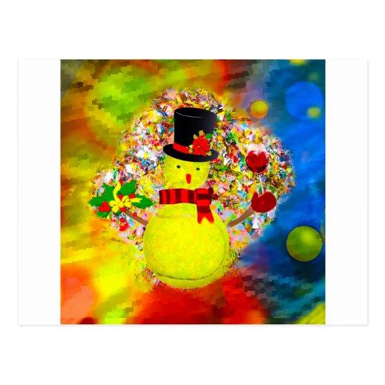 Snow tennis ball man in a cloud of confetti postcard