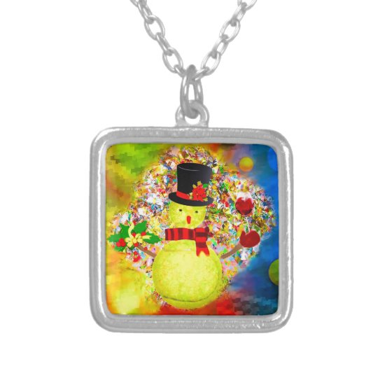 Snow tennis ball man in a cloud of confetti silver plated necklace