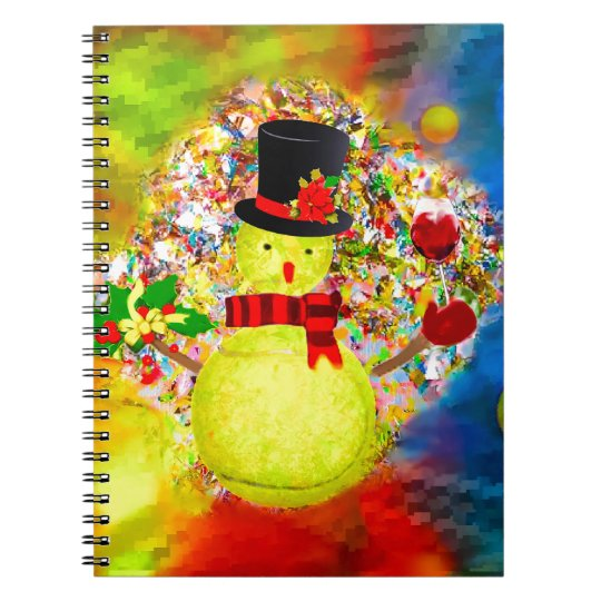 Snow tennis ball man in a cloud of confetti spiral notebook