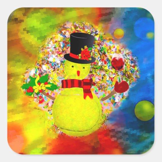 Snow tennis ball man in a cloud of confetti square sticker