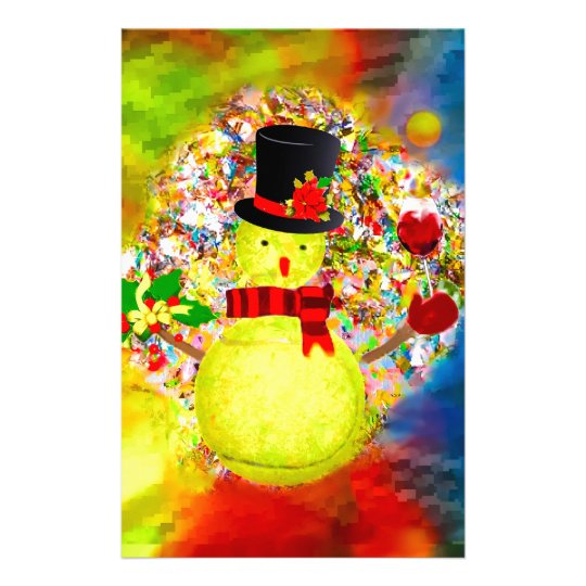 Snow tennis ball man in a cloud of confetti stationery