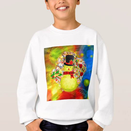 Snow tennis ball man in a cloud of confetti sweatshirt