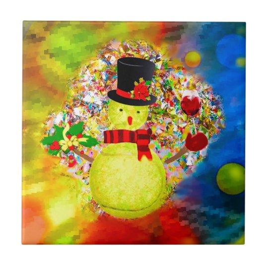 Snow tennis ball man in a cloud of confetti tile