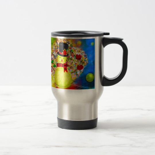 Snow tennis ball man in a cloud of confetti travel mug