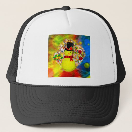 Snow tennis ball man in a cloud of confetti trucker hat