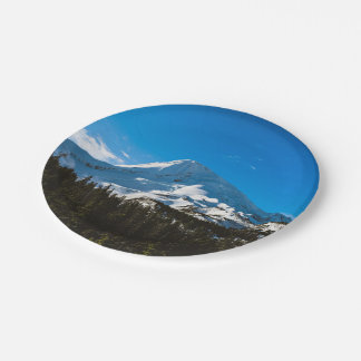 Snow Themed, Peak Of A Snow Covered Mountain Durin Paper Plate
